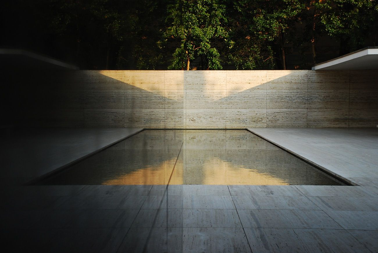 The pool of the Barcelona Pavilion by Ludwig Mies van der Rohe.
