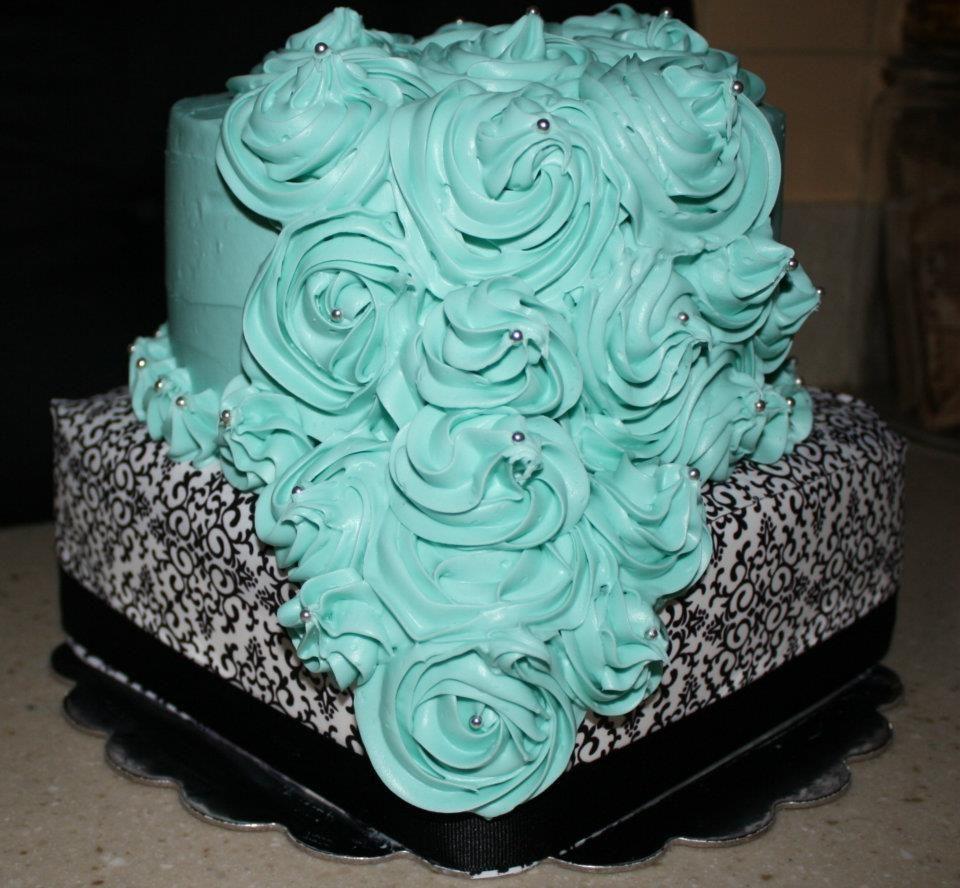 Tiffany Blue And Black Wedding Ideas: Tiffany Blue & Black And White Damask Cake