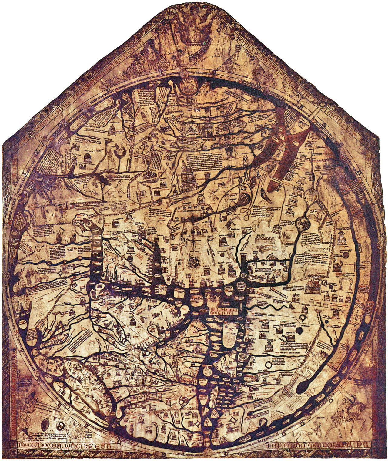 This world map from hereford cathedral in england was made in explora mapamundi jerusaln y mucho ms this world map gumiabroncs Images