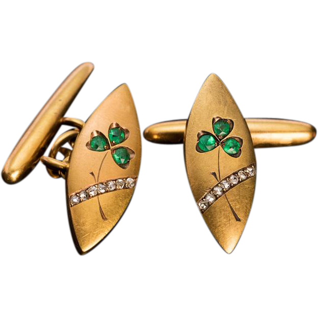 Antique Art Nouveau Emerald, Diamond and 14K Gold Cufflinks from romanovrussia on Ruby Lane