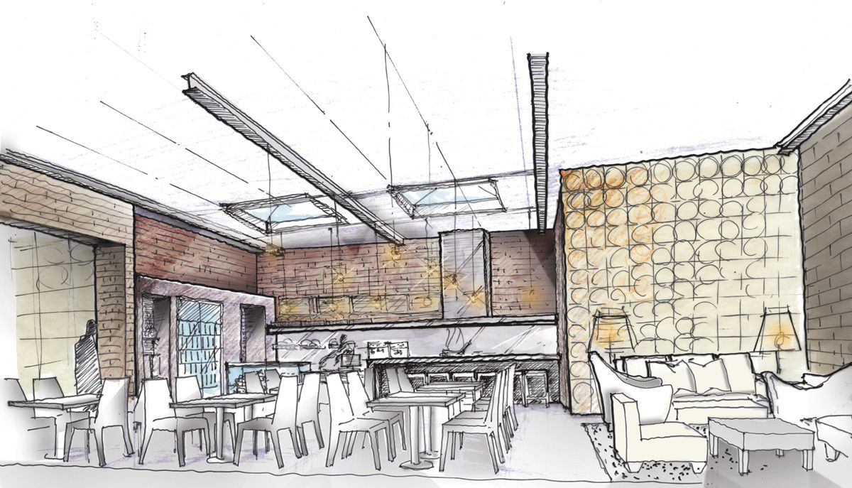 Modern Interior Architecture Sketches With Rendering Sketches
