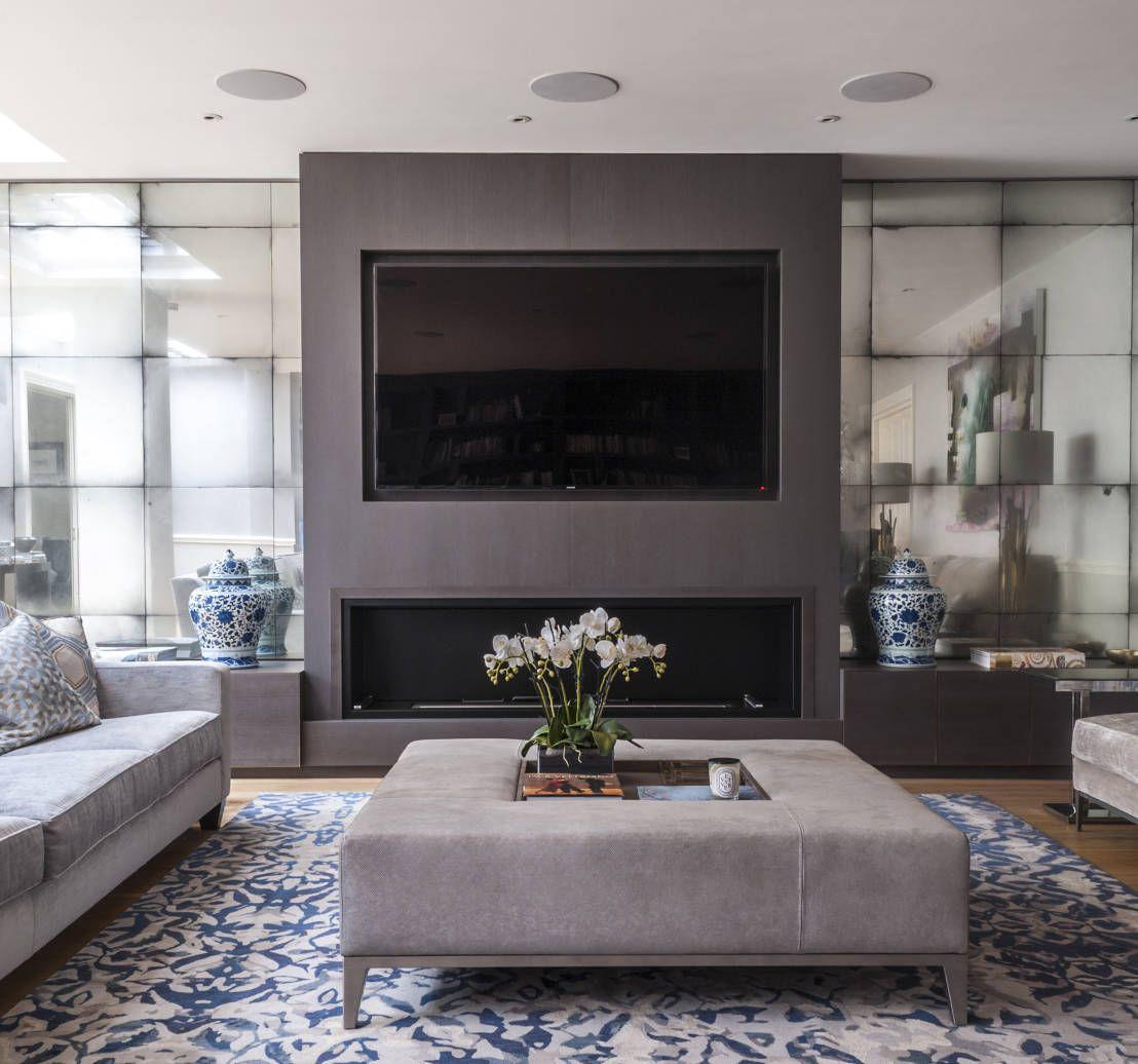 "Mirella Mirrored Natural 54"" Tv Stand | Room decor, Living ..."