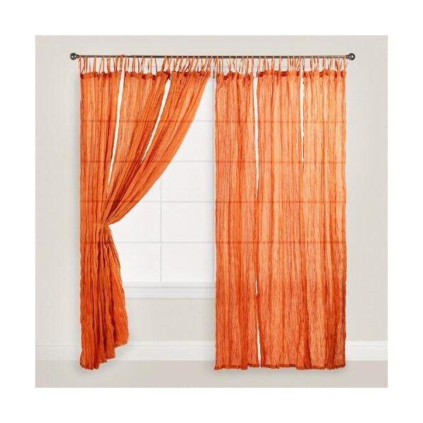 Cost Plus World Market Orange Crinkle Sheer Voile Cotton Curtains Set 27 Liked On Orange Curtains Orange Curtains Bedroom Orange Curtains Living Room