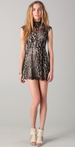 Lover Labyrinth mini dress $785.00 color: Black   *i dig from how afar, looks animal print but is simply black lace over nude