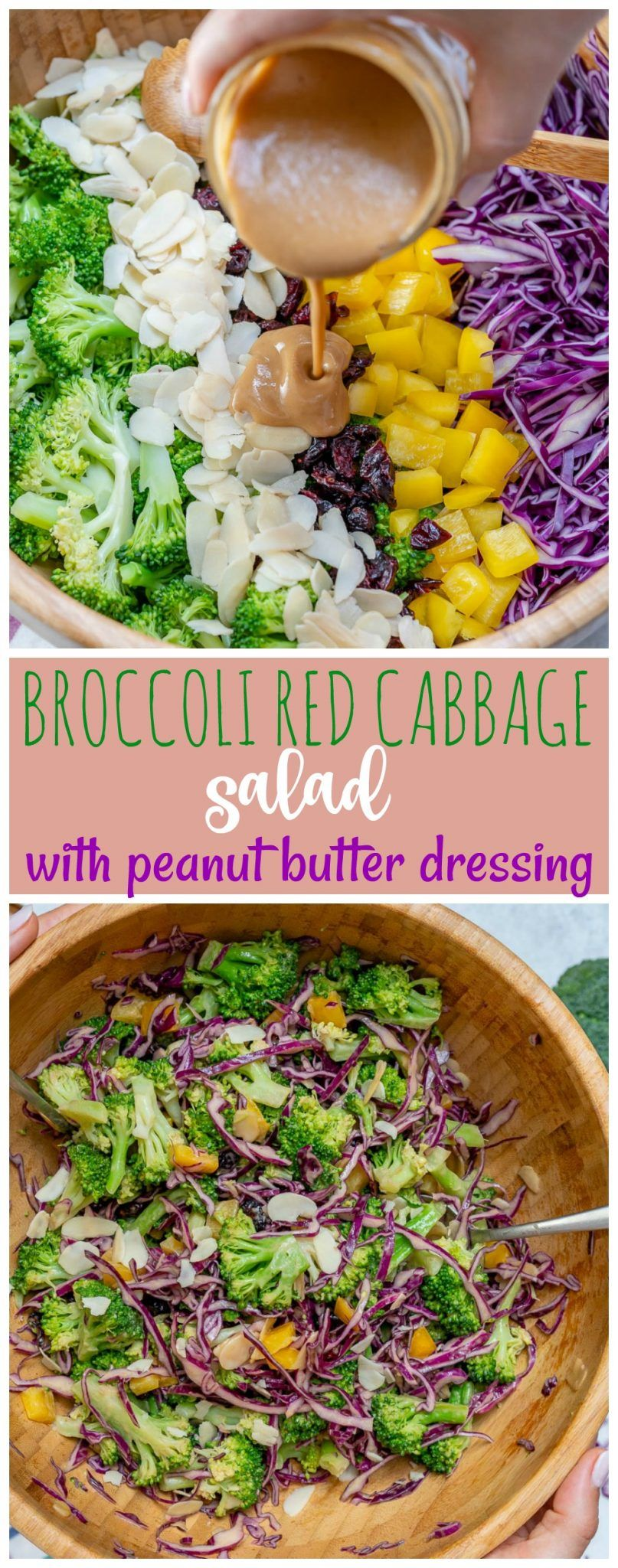 Broccoli + Red Cabbage Salad with Tangy PB Dressing #cleaneating