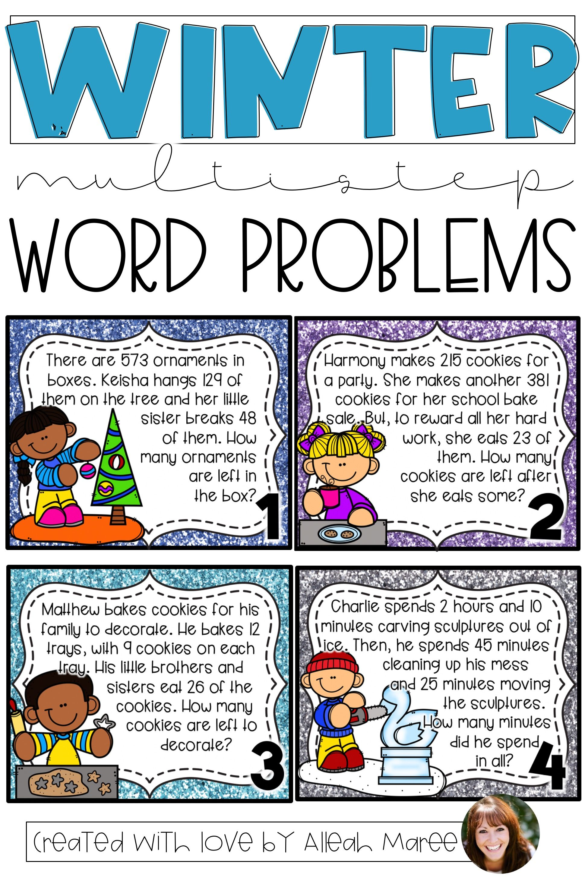 Editable Winter Multistep Word Problem Task Cards And