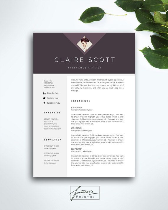 resume template 3 page    cv template   cover letter    instant download for ms word     u0026quot claire u0026quot