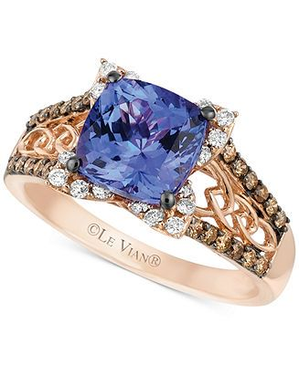 Le Vian Tanzanite (2 ct. t.w.) and Diamond (3/8 ct. t.w.) Ring in 14k Rose Gold - Le Vian - Jewelry & Watches - Macy's