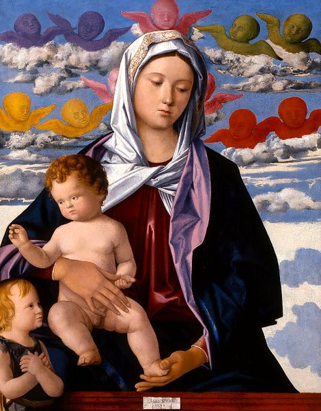 Giovanni Bellini, Madonna and Child with St. John the Baptist (about 1490-1500) on ArtStack #giovanni-bellini #art