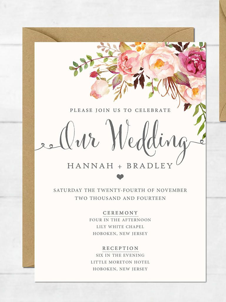 16 printable wedding invitation templates you can diy wedding these elegant floral diy printable wedding invitations feature lush flowers and soft pink hues to set the tone for an intimate affair stopboris Choice Image
