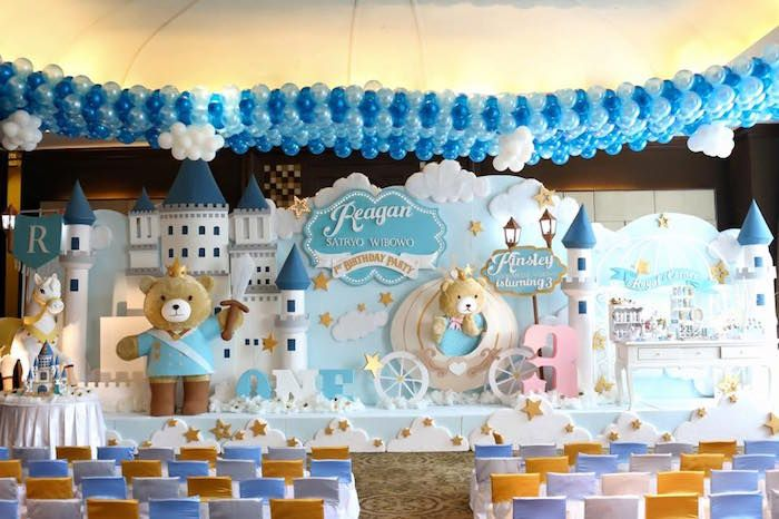 Stage backdrop from a royal teddy bear birthday party for Backdrop decoration for birthday