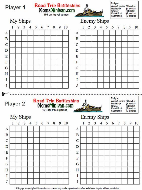 Battleships Printable Car Game Use For Spelling Words Sight Words
