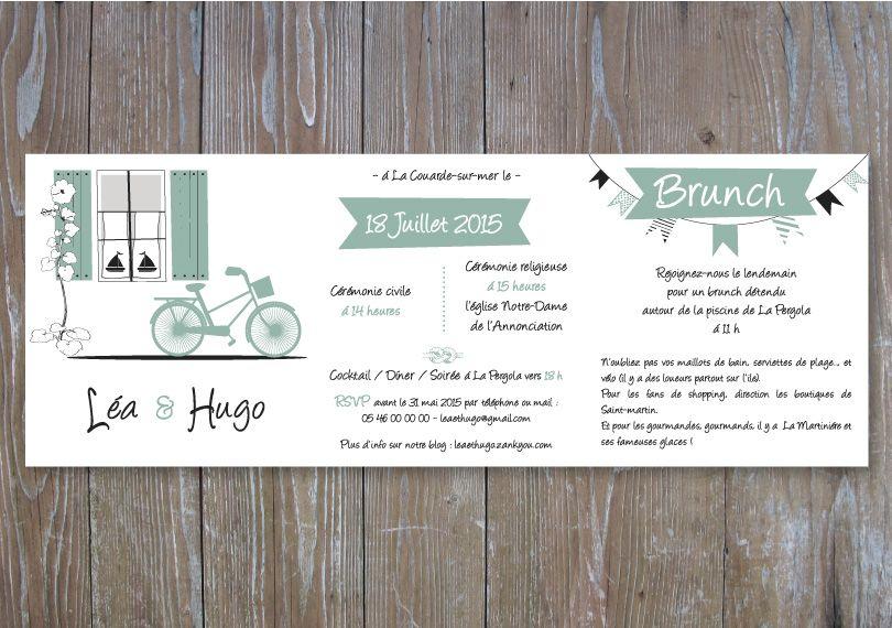 """Faire-part mariage letterpress """"île de Ré"""" Création ChouetteLetterpress https://www.etsy.com/fr/shop/ChouetteLetterpress"""