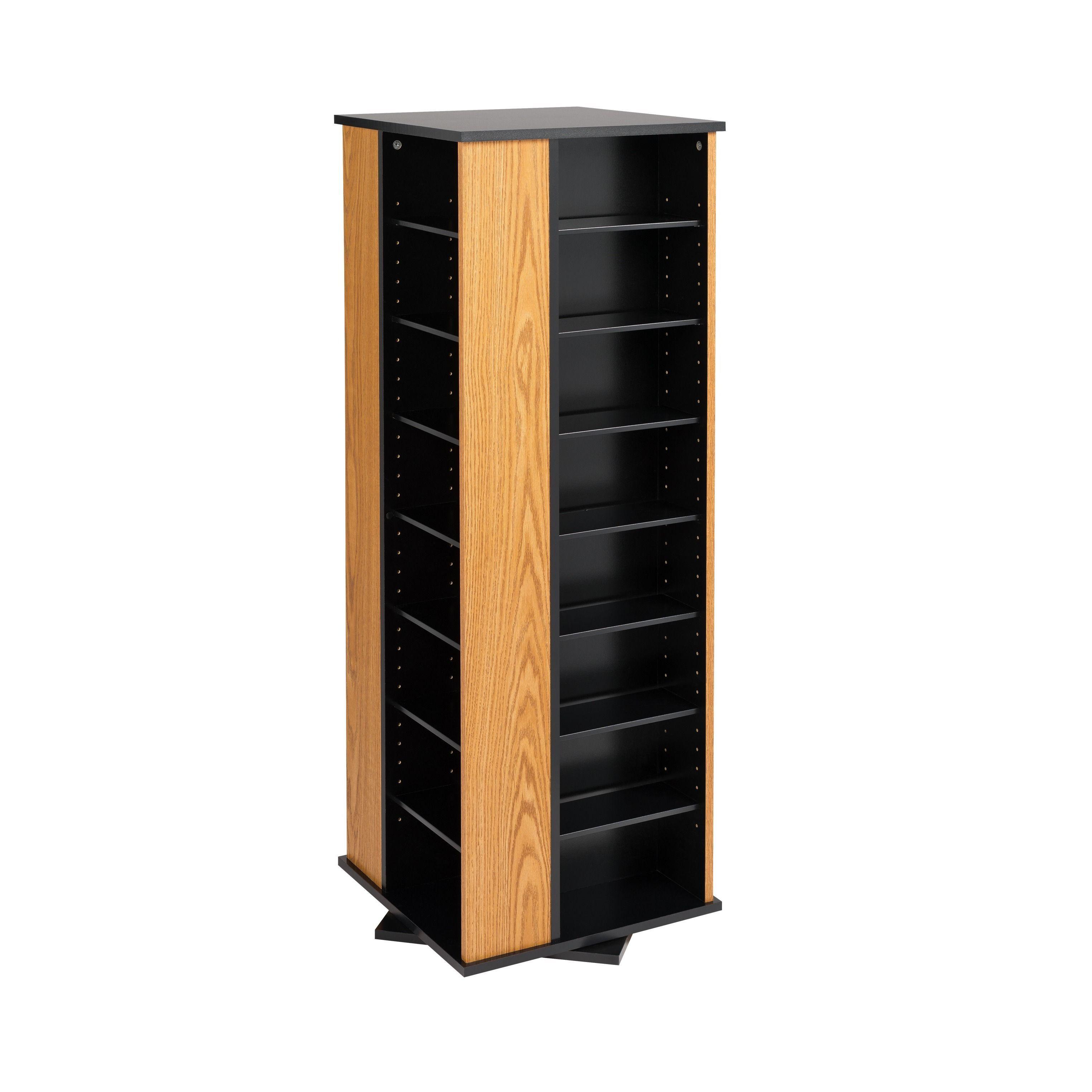 Prepac Spinning Media Storage Tower (Black   Black Finish)