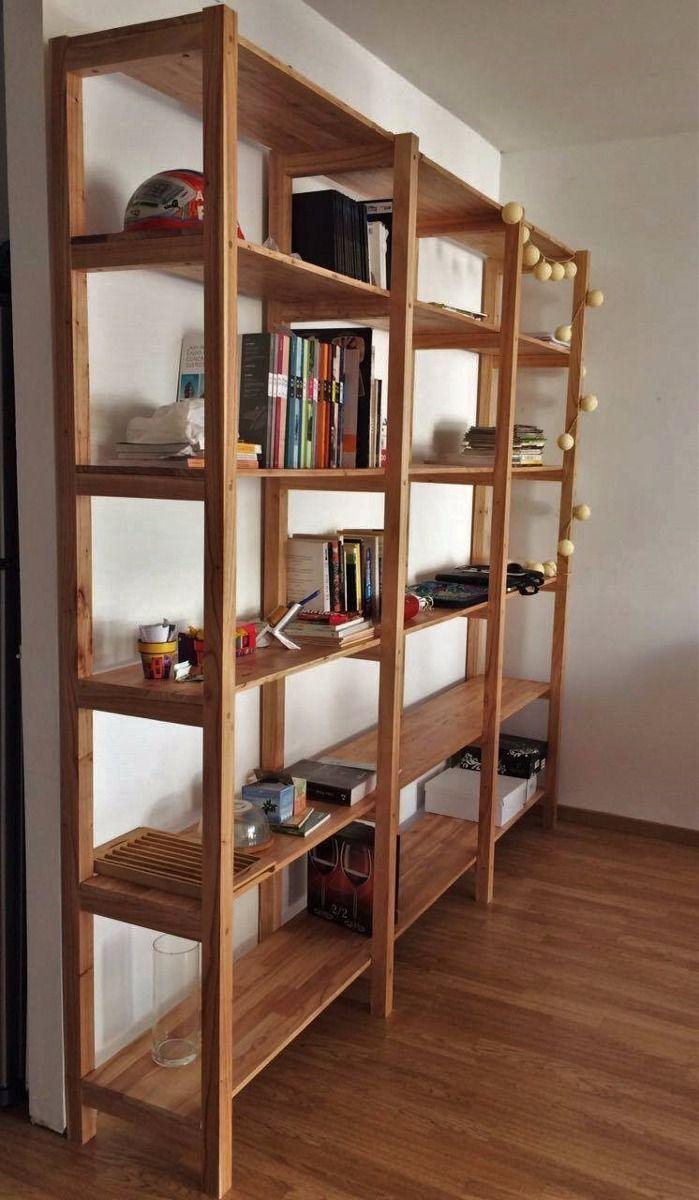 Estanteria biblioteca madera paraiso macizo 160x220 8 - Estanterias modulares de madera ...