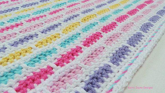 Crochet Pattern Rainbow Bricks Pattern Crochet Blanket Pattern Baby