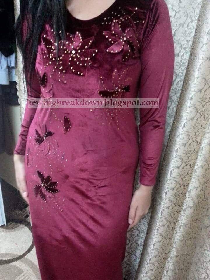 c919359b8 خطوات خياطة فستان قطيفة شتوي بالصور خياطة و تفصيل | DZ fashion ...