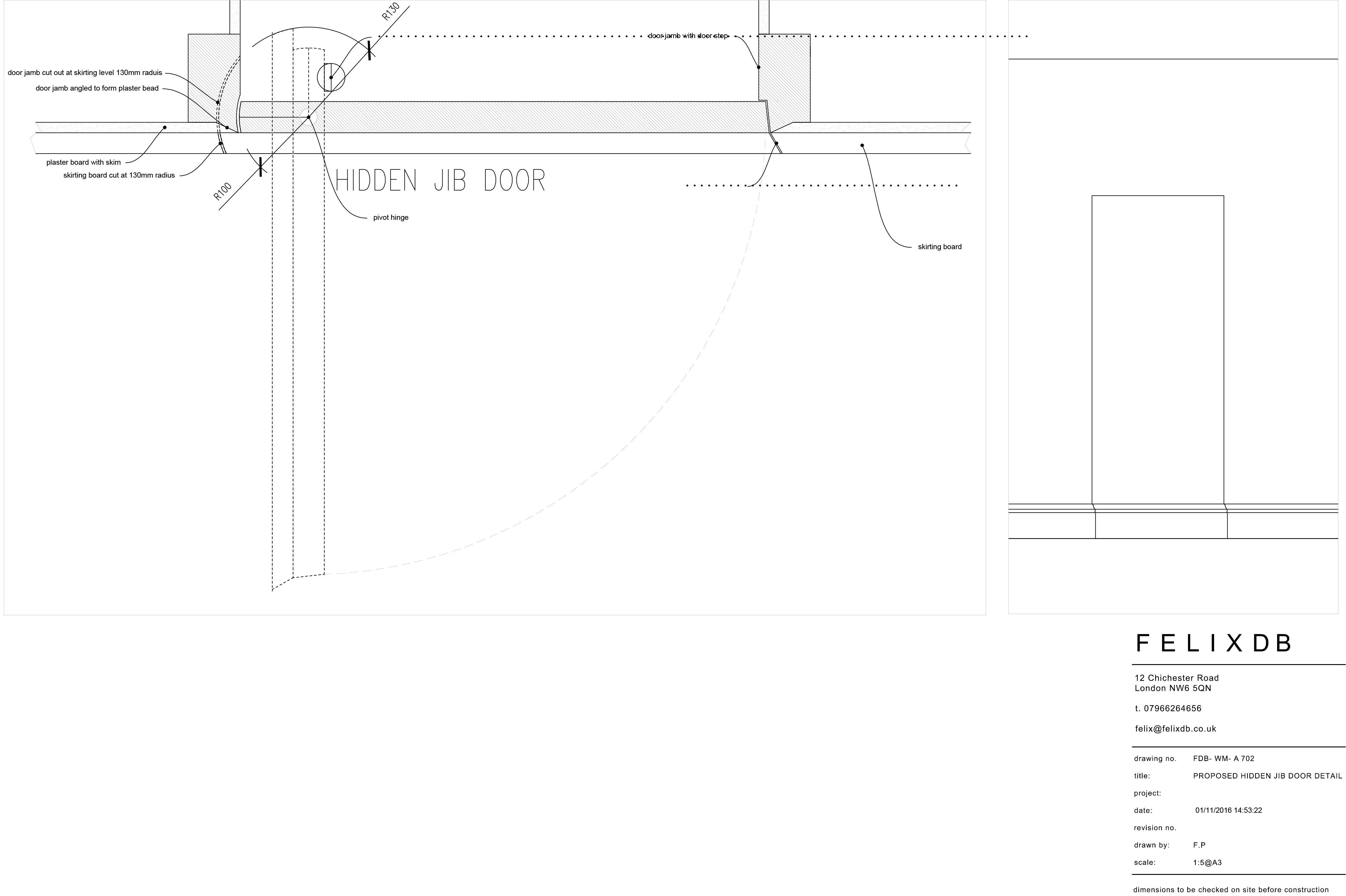 Detail Drawing For Jib Hidden Door Design Outward Opening Door Plan Detailed Drawings Door Design