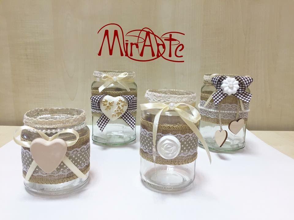Vasetti in vetro stile shabby chic decorated vases - Vasetti vetro decorati ...