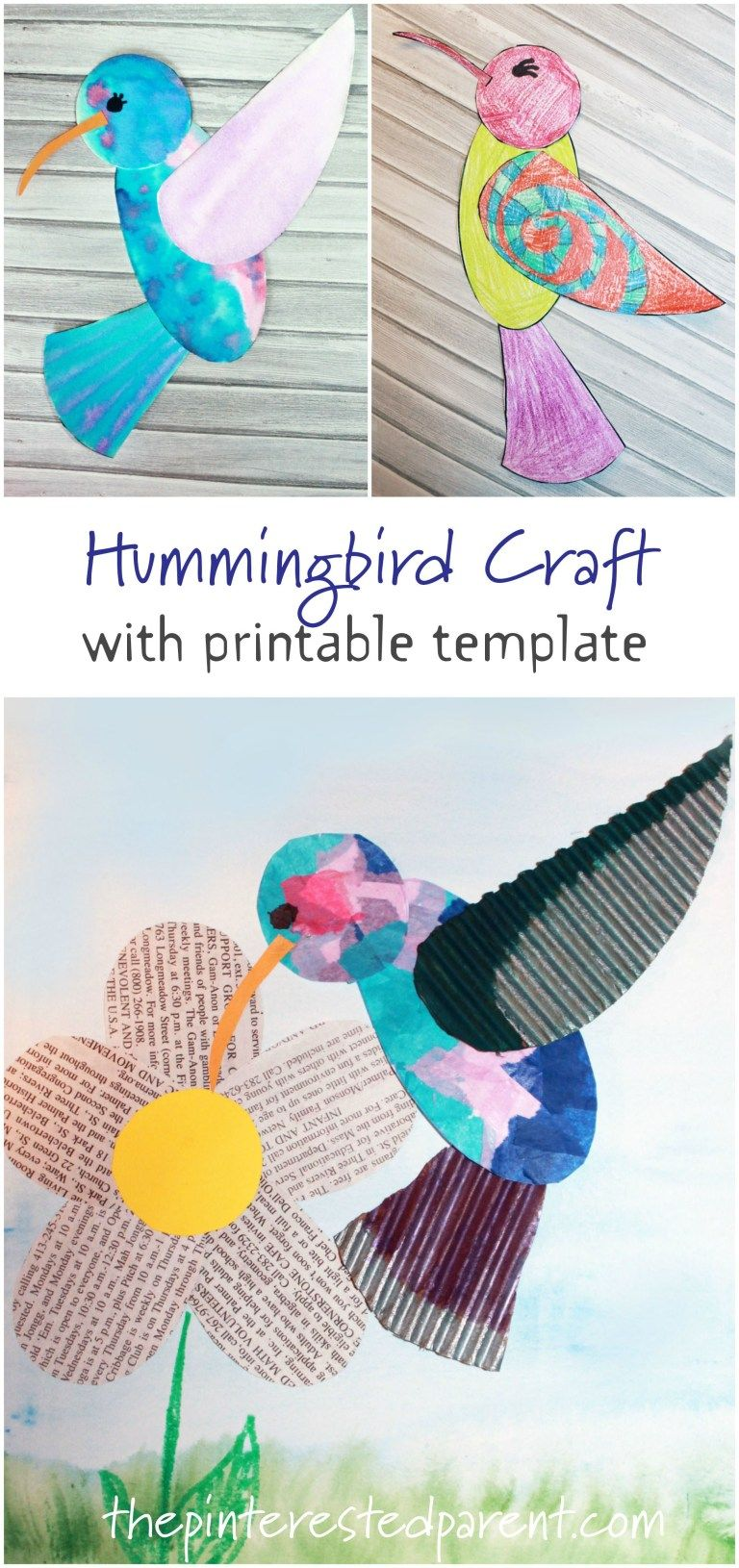 Hummingbird Craft with Printable | spring art lesson