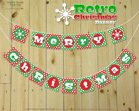 retro christmas banner diy printable merry christmas banner
