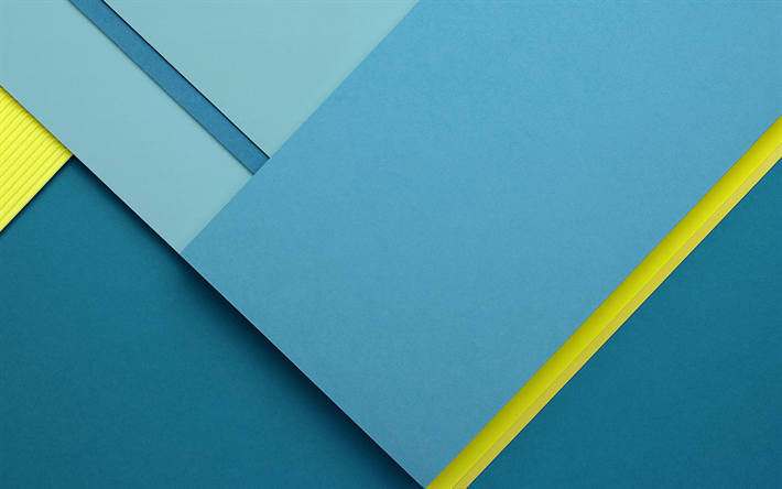 Download Wallpapers Android Blue And Yellow Material Design Nexus X Stock Lollipop Geometric Shapes Creative Geometry Blue Background Besthqwallpapers C Google Material Design Material Design Android Material Design