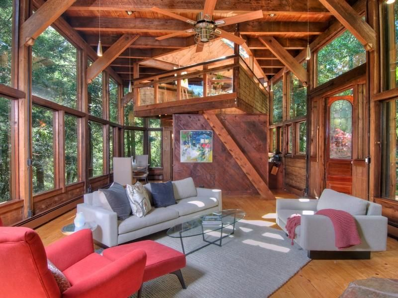 Photo Of Living Room Inside Tree House In The Forest