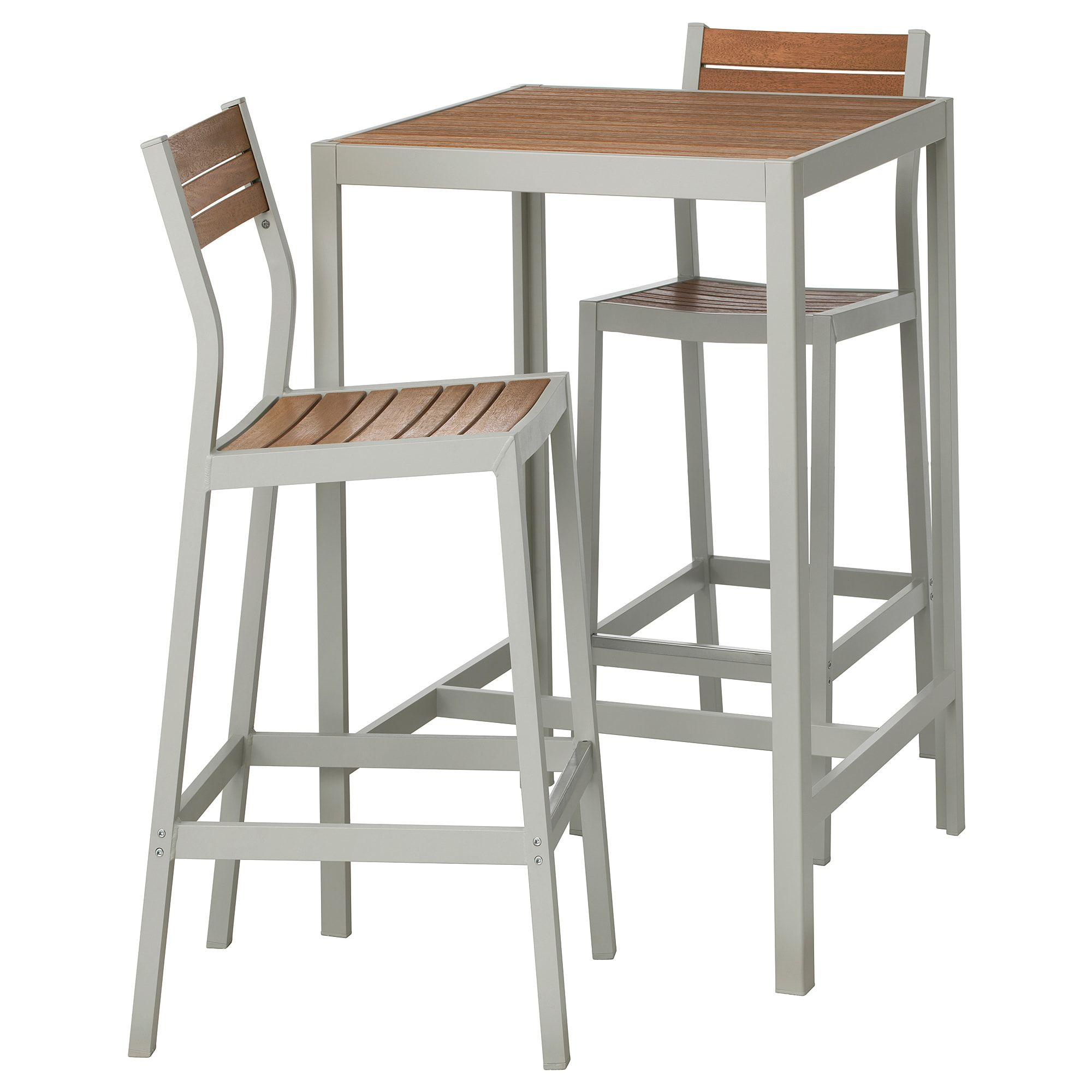 Sjalland Bar Table And 2 Bar Stools Outdoor Light Brown Light