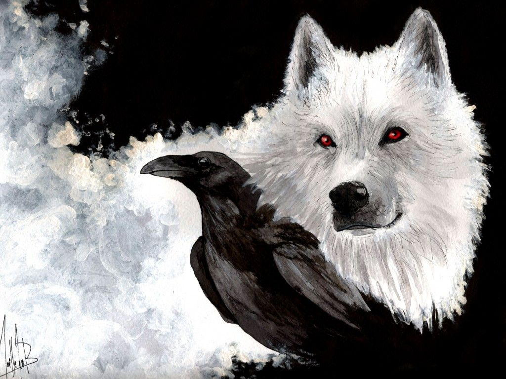 Raven And Wolf VIKING Pinterest Ravens Wolf And Crows - Game of thrones pet paintings