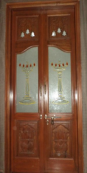 Pooja Room Door Designs With Glass And Wood