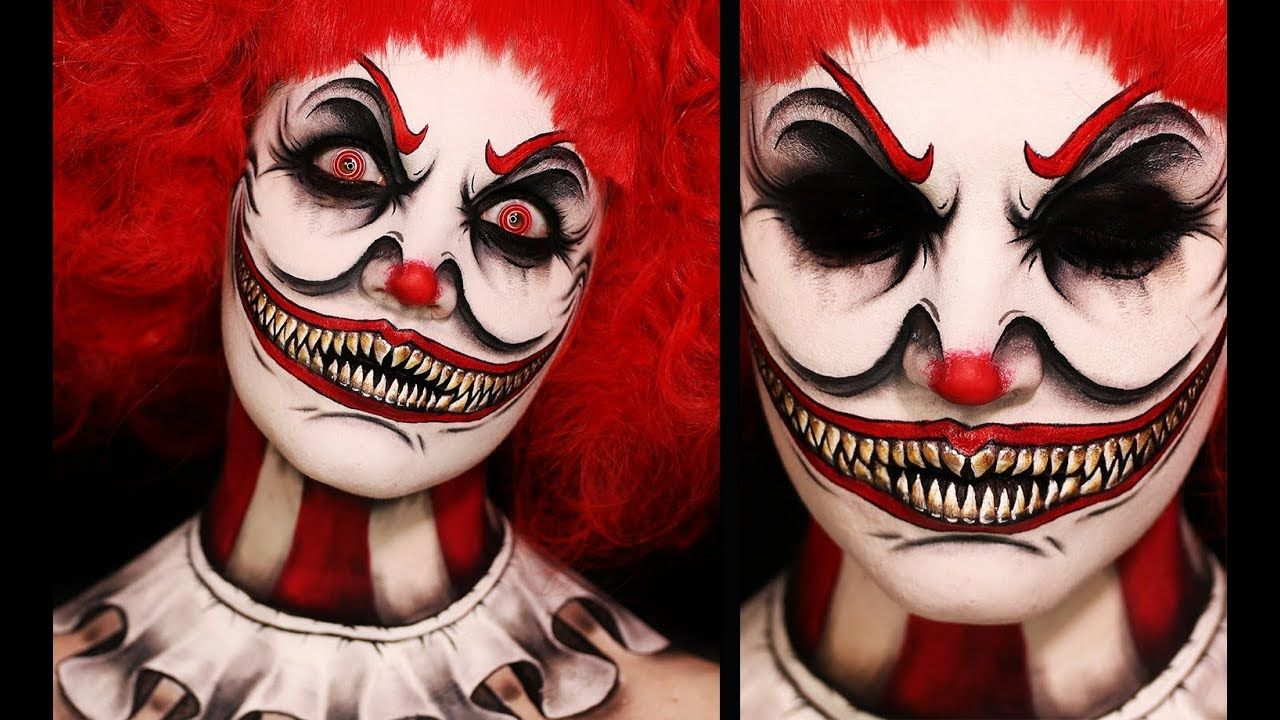 Twisted Clown Creepy Halloween Makeup Tutorial Scary Clown Makeup Halloween Makeup Tutorial Halloween Makeup Looks