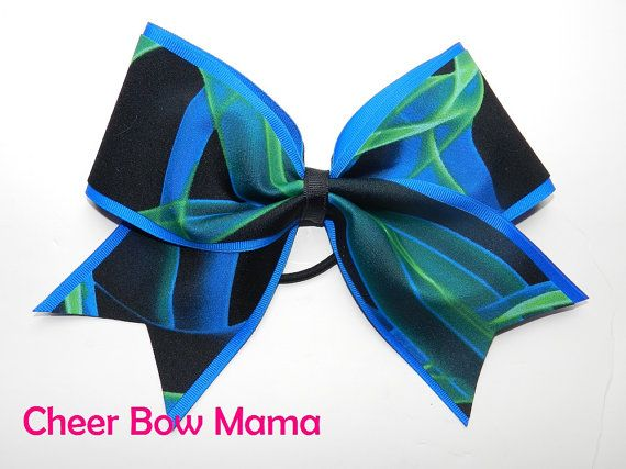 Black, Blue & Green Cheer Bow by Cheer Bow Mama