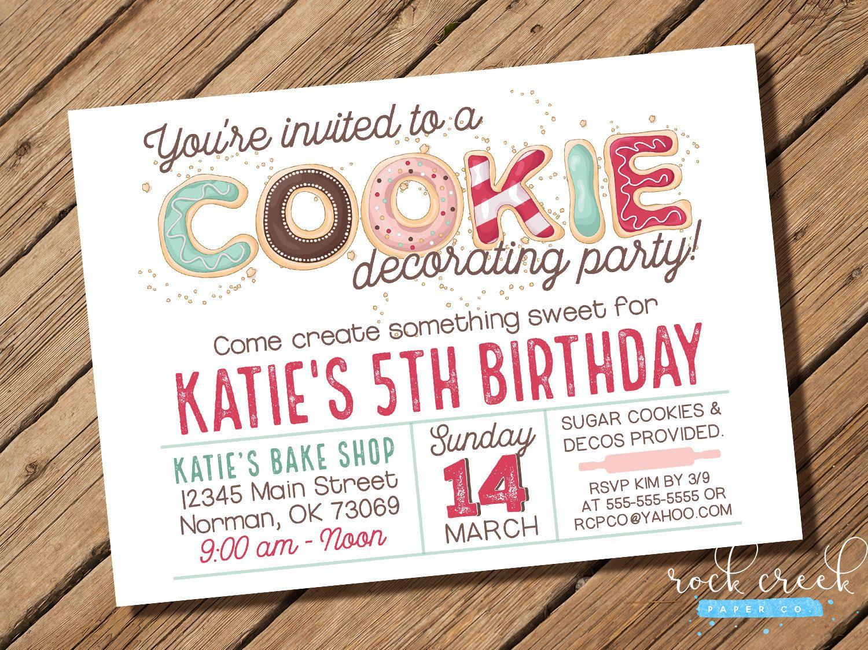 Cookie Decorating Invitation, Milk and Cookies Invitation, Cookie Decorating Birthday, Digital Birth