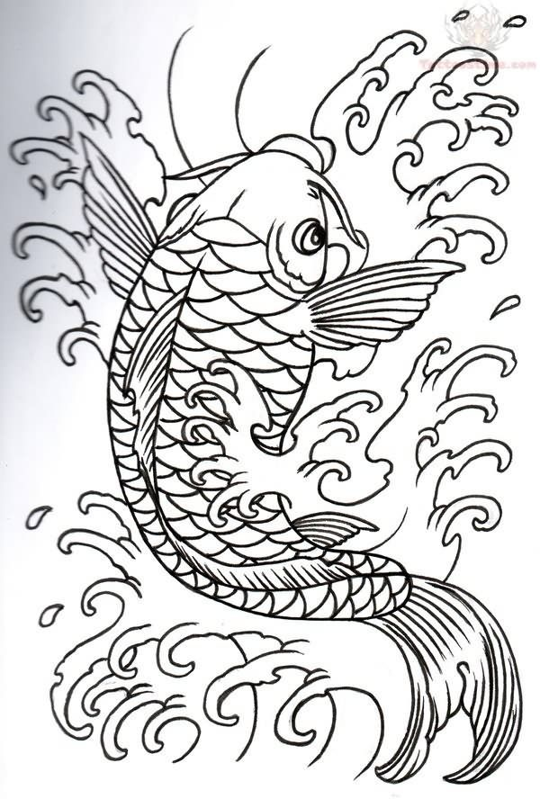 Fish art design japanese koi outline tattoo design for Japanese koi design