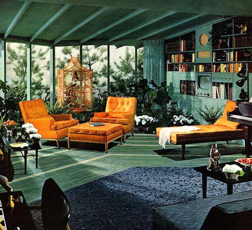 Lots Of Green 1950s Interior Design Mid Century Living Room Vintage Interior Design