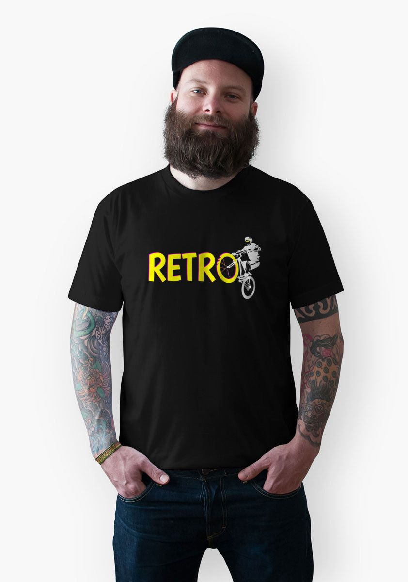 66a83070 Retro Bike t-shirt A old school #MTB (Mountain bike) or trails bike, dawn  on back and white. The text is Yellow and is shaded in pink.