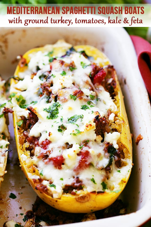 Mediterranean Spaghetti Squash Boats are an easy spaghetti squash recipe you'll love! Spaghetti squash stuffed with ground turkey, tomatoes, kale & feta. #spaghettisquash #groundturkey #stuffedspaghettisquash Mediterranean Spaghetti Squash Boats are an easy spaghetti squash recipe you'll love! Spaghetti squash stuffed with ground turkey, tomatoes, kale & feta. #spaghettisquash #groundturkey #spagettisquashrecipes Mediterranean Spaghetti Squash Boats are an easy spaghetti squash recipe you'll lov #stuffedspaghettisquash