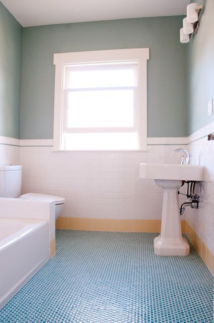 Love The Turquoise Penny Tile Floor With Images Penny Tiles
