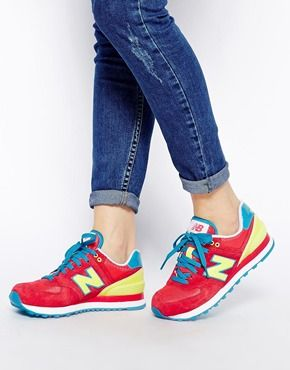 new concept 1b3b2 a71a5 New Balance Red Yellow 574 Carnival Sneakers