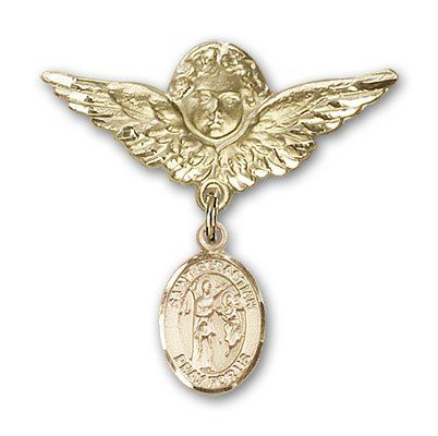 ReligiousObsession's 14K Gold Baby Badge with St. Sebastian Charm and Angel with Wings Badge Pin >>> Click image to review more details.