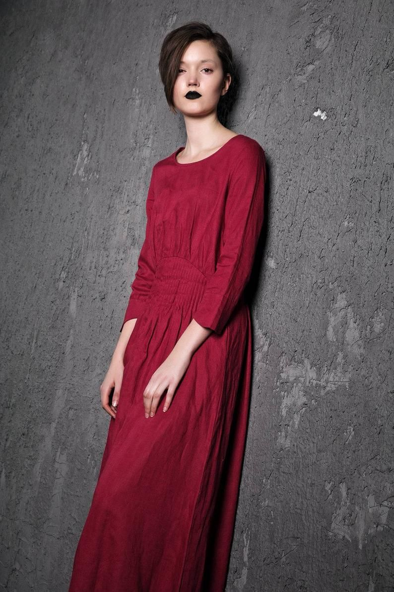 Rote Leinen Maxi Kleid - Himbeere Fit & Flare mit Pintuck ...