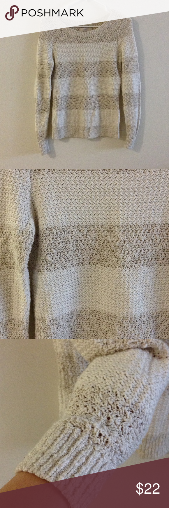 Striped Sweater Cream striped knitted sweater. LOFT Tops