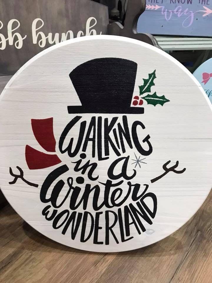 Items similar to winter wonderland snow man / rustic home decor / holiday decor / snowman wood round on Etsy