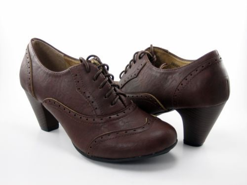 b8b1385ff1 New Women Vintage Oxford Faux Leather Retro Lace Up Stacked High Heel Shoe  | eBay