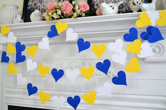 heart garland party decor Blue white yellow paper heart garland paper hearts Wedding garland bridal shower decor shower decorations