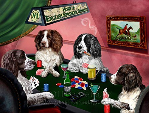Home Of 4 English Springer Spaniel Dogs Playing Poker Animal Pet Gre Https Www Amazon Com Dp B01lzemv Dogs Playing Poker Spaniel Dog English Springer