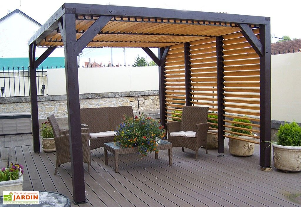 pergola ombra avec lames orientables c t et toit en bois. Black Bedroom Furniture Sets. Home Design Ideas