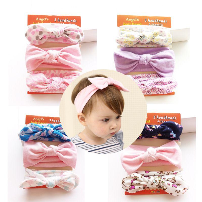 3 pieces lot New Baby Headband Cotton Bow Kids Girls Headwear Kids Children  Hair Accessories Baby Shower Gift Infant Supplies 14a36a04bbd