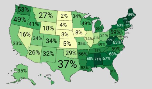Percentage forest cover in each US state. | Maps | Forest ...
