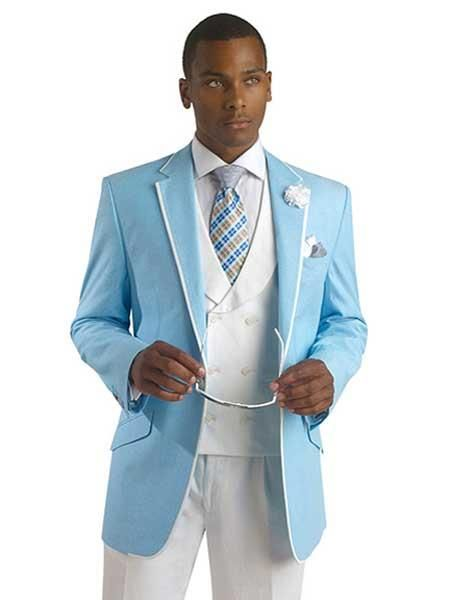 SKU#SM704 Mens Light Sky Blue Ocean Powder With White Trim Tuxedo ...